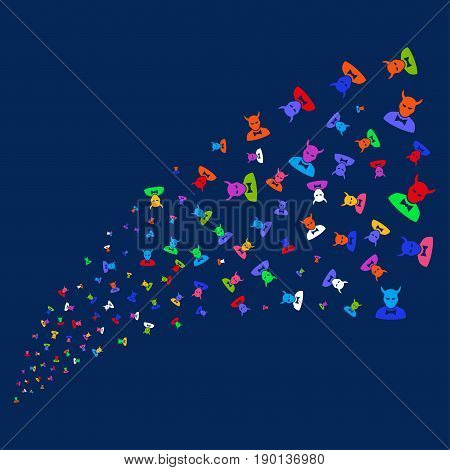 Fountain of devil symbols. Vector illustration style is flat bright multicolored devil iconic symbols on a blue background. Object fountain created from confetti pictographs.