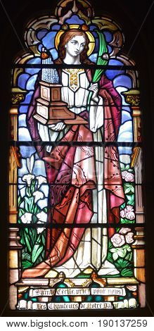 MONTREAL CANADA 05 17 17: Stained glass window Notre-Dame Basilica along the walls of the sanctuary do not depict biblical scenes, but  scenes from the religious history of Montreal