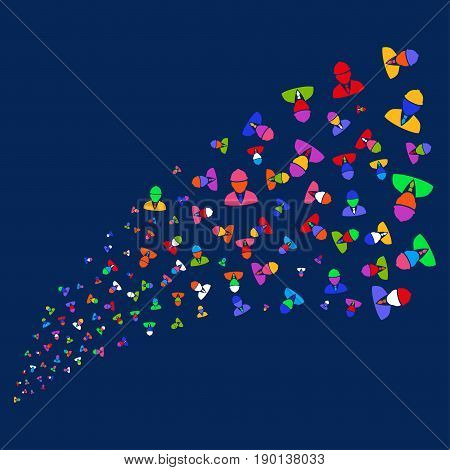 Source stream of engineer icons. Vector illustration style is flat bright multicolored engineer iconic symbols on a blue background. Object stream made from scattered icons.