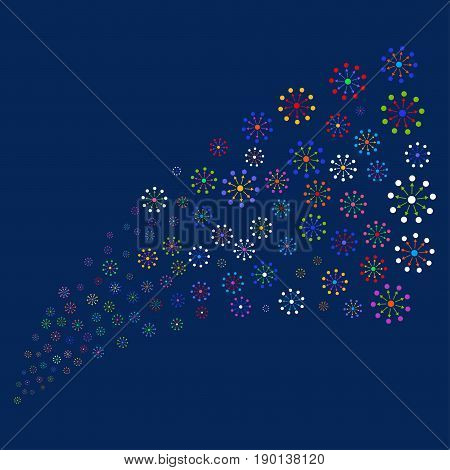 Source stream of expanse icons. Vector illustration style is flat bright multicolored expanse iconic symbols on a blue background. Object source organized from random icons.