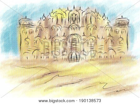 Rajasthan abstract illustration of city on multicolor background