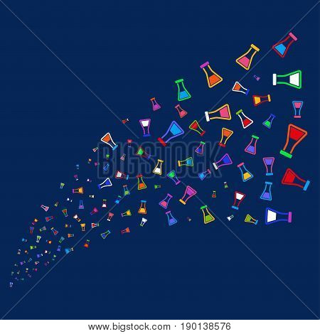 Source stream of flask symbols. Vector illustration style is flat bright multicolored flask iconic symbols on a blue background. Object source made from confetti pictograms.