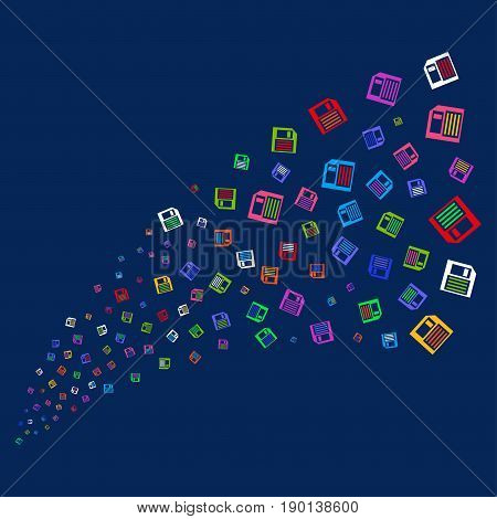 Source of floppy disk symbols. Vector illustration style is flat bright multicolored floppy disk iconic symbols on a blue background. Object salute constructed from confetti pictographs.