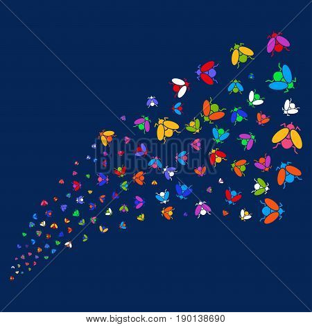 Source of fly insect icons. Vector illustration style is flat bright multicolored fly insect iconic symbols on a blue background. Object salute constructed from confetti icons.