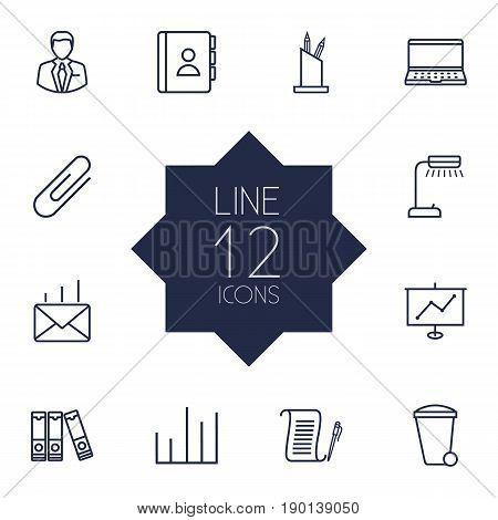 Set Of 12 Cabinet Outline Icons Set.Collection Of Pen Storage, Reading-Lamp, Fastener Paper And Other Elements.