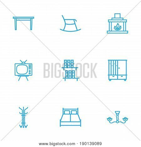 Set Of 9 Decor Outline Icons Set.Collection Of Fireplace, Tv Set, Double Bed And Other Elements.