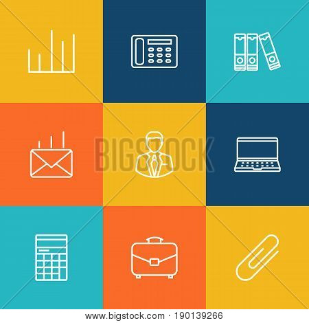 Set Of 9 Bureau Outline Icons Set.Collection Of Fastener Paper, Notebook, Administrator And Other Elements.