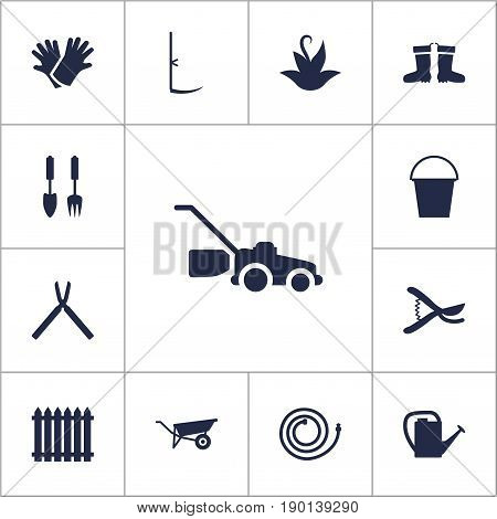 Set Of 13 Horticulture Icons Set.Collection Of Watering Can, Rubber Boots, Lawn Mower And Other Elements.