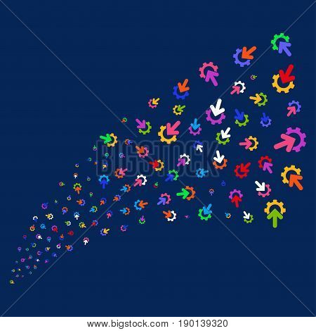 Source of gear integration icons. Vector illustration style is flat bright multicolored gear integration iconic symbols on a blue background. Object fountain created from confetti pictographs.
