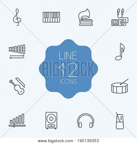 Set Of 12 Melody Outline Icons Set.Collection Of Note, Loudspeaker, Musical Sign And Other Elements.