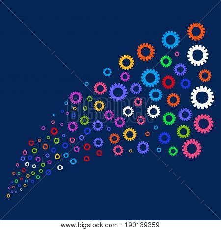 Fountain of gear icons. Vector illustration style is flat bright multicolored gear iconic symbols on a blue background. Object stream combined from confetti icons.