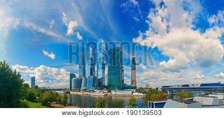 Panoramic view on Moscow City business center from the Bagration business center. Moscow city business center biggest in Moscow. Moscow panorama cityscape. Modern business architecture