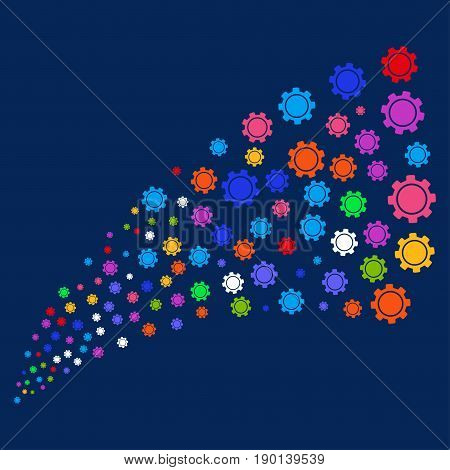 Source stream of gear symbols. Vector illustration style is flat bright multicolored gear iconic symbols on a blue background. Object source constructed from random pictograms.