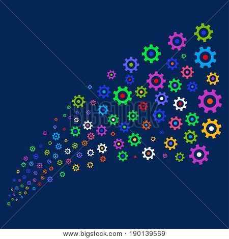 Source stream of gear icons. Vector illustration style is flat bright multicolored gear iconic symbols on a blue background. Object source created from random design elements.