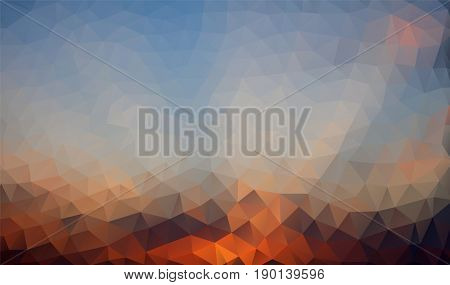 Abstract polygonal background in orange, blue shades. There is a variant in the vector.