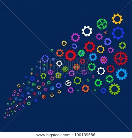 Fountain of gears and cogs symbols. Vector illustration style is flat bright multicolored gears and cogs iconic symbols on a blue background. Object fountain organized from scattered pictograms.