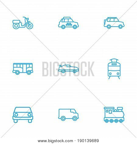 Set Of 9 Transport Outline Icons Set.Collection Of Moped, Tram, Bus And Other Elements.