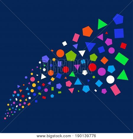 Source of geometric figures symbols. Vector illustration style is flat bright multicolored geometric figures iconic symbols on a blue background. Object stream made from scattered pictograms.