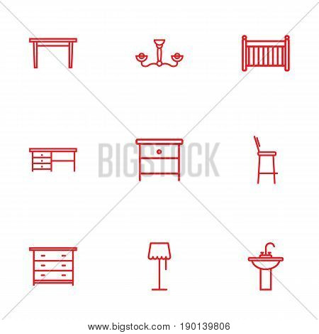 Set Of 9 Decor Outline Icons Set.Collection Of Floor Lapm, Nightstand, Crib Elements.