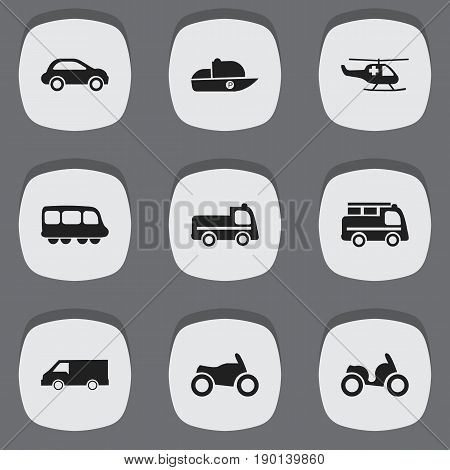 Set Of 9 Editable Transportation Icons. Includes Symbols Such As Van, Lorry, Vessel And More. Can Be Used For Web, Mobile, UI And Infographic Design.