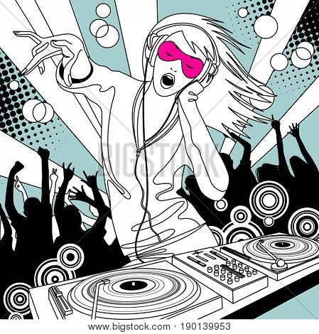 Disc jockey girl with a DJ mixer and people dancing at a party. Linear drawing