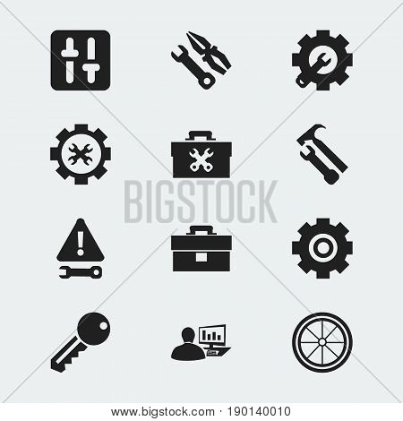 Set Of 12 Editable Toolkit Icons. Includes Symbols Such As Access, Tyre, Wrench Hammer And More. Can Be Used For Web, Mobile, UI And Infographic Design.
