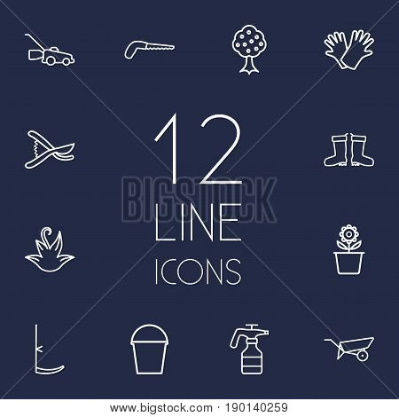Set Of 12 Horticulture Outline Icons Set.Collection Of Secateurs, Atomizer, Pail And Other Elements.