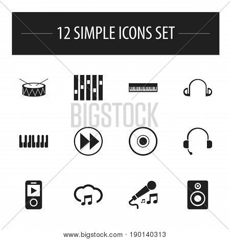 Set Of 12 Editable Music Icons. Includes Symbols Such As Cd, Karaoke, Call Center And More. Can Be Used For Web, Mobile, UI And Infographic Design.