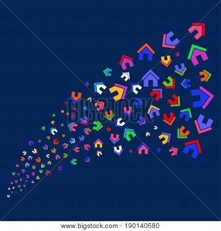 Source of home icons. Vector illustration style is flat bright multicolored home iconic symbols on a blue background. Object stream combined from scattered symbols.