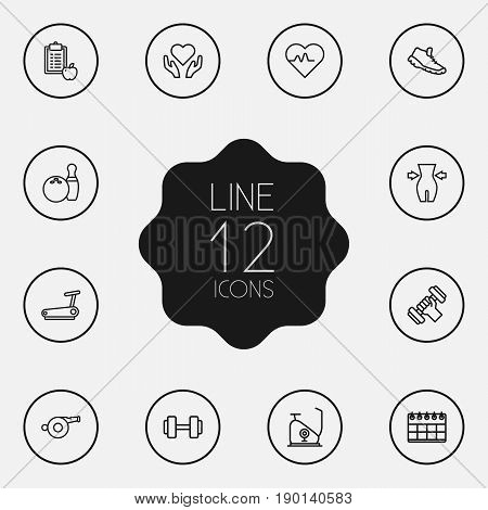 Set Of 12 Bodybuilding Outline Icons Set.Collection Of Running Track, Workout, Whistle And Other Elements.