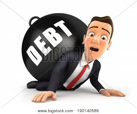 3d businessman crushing debt illustration with isolated white background