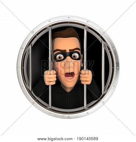 3d thief behind bars illustration with isolated white background