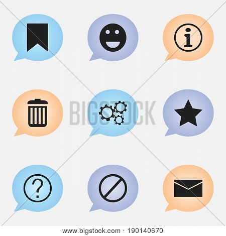Set Of 9 Editable Web Icons. Includes Symbols Such As Tag, Faq, Bookmark And More. Can Be Used For Web, Mobile, UI And Infographic Design.