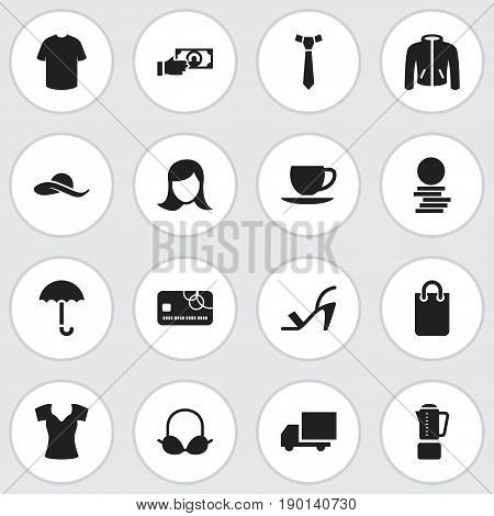 Set Of 16 Editable Shopping Icons. Includes Symbols Such As Brassiere, Purse, Saucer And More. Can Be Used For Web, Mobile, UI And Infographic Design.