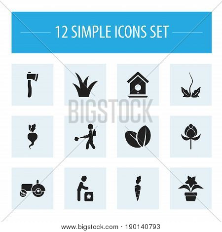 Set Of 12 Editable Planting Icons. Includes Symbols Such As Agrimotor, Medical Herb, Tomahawk And More. Can Be Used For Web, Mobile, UI And Infographic Design.