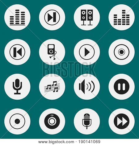 Set Of 16 Editable Sound Icons. Includes Symbols Such As Music Speaker, Musical Sign, Musical Gadget And More. Can Be Used For Web, Mobile, UI And Infographic Design.