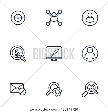 Set Of 9 Engine Outline Icons Set.Collection Of Cost Per, Keywords, Web Design And Other Elements.