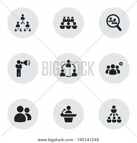 Set Of 9 Editable Team Icons. Includes Symbols Such As Unity, Member, Debate And More. Can Be Used For Web, Mobile, UI And Infographic Design.