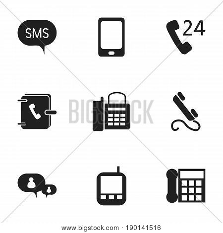 Set Of 9 Editable Phone Icons. Includes Symbols Such As Transceiver, Address Notebook, 24 Hour Servicing And More. Can Be Used For Web, Mobile, UI And Infographic Design.