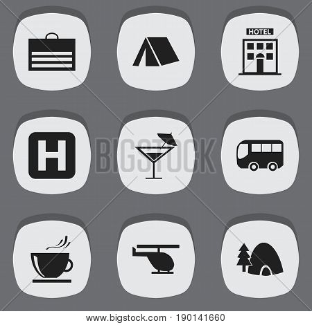 Set Of 9 Editable Journey Icons. Includes Symbols Such As Tabernacle, Motorbus, Helipad And More. Can Be Used For Web, Mobile, UI And Infographic Design.