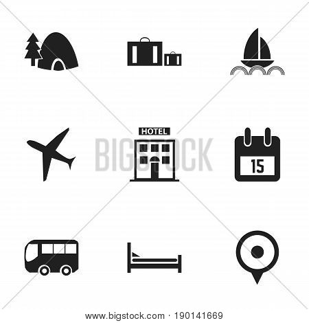 Set Of 9 Editable Trip Icons. Includes Symbols Such As Yacht, Briefcase, Location And More. Can Be Used For Web, Mobile, UI And Infographic Design.