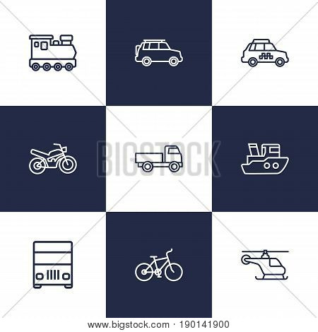 Set Of 9 Traffic Outline Icons Set.Collection Of Lorry, Truck, Motorcycle And Other Elements.