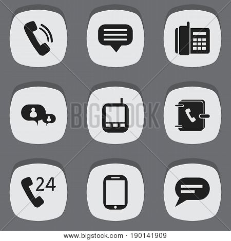 Set Of 9 Editable Phone Icons. Includes Symbols Such As Transceiver, Comment, Tablet And More. Can Be Used For Web, Mobile, UI And Infographic Design.
