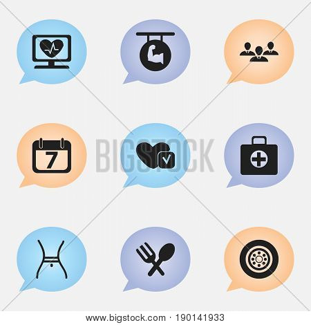 Set Of 9 Editable Complicated Icons. Includes Symbols Such As Soul, First Aid Box, Biceps And More. Can Be Used For Web, Mobile, UI And Infographic Design.