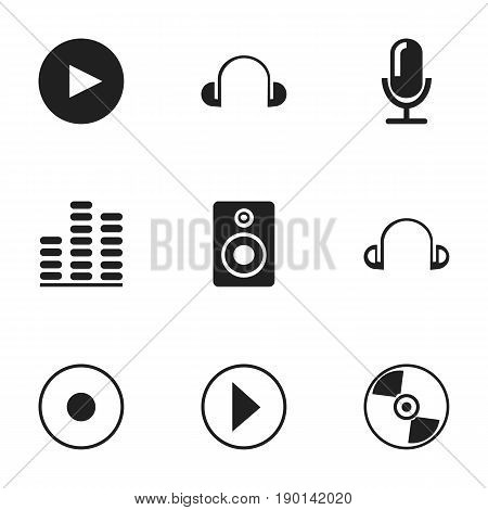 Set Of 9 Editable Audio Icons. Includes Symbols Such As Start Audio, Earpiece, Disc And More. Can Be Used For Web, Mobile, UI And Infographic Design.