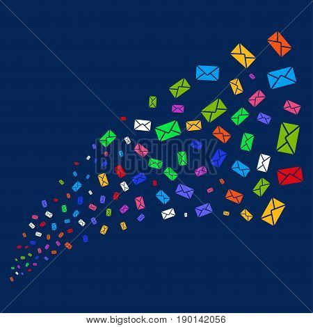 Source stream of mail envelope symbols. Vector illustration style is flat bright multicolored mail envelope iconic symbols on a blue background. Object source organized from confetti design elements.