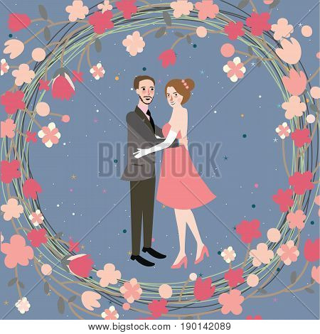 couple wedding bride grom character illustration husband and wife with flower vector