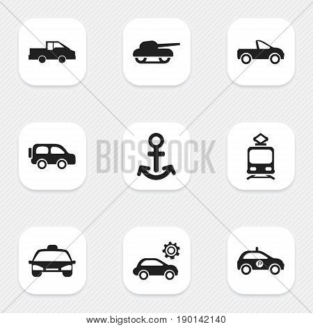 Set Of 9 Editable Shipment Icons. Includes Symbols Such As Travel Pickup, Taxi, Drophead Coupe And More. Can Be Used For Web, Mobile, UI And Infographic Design.