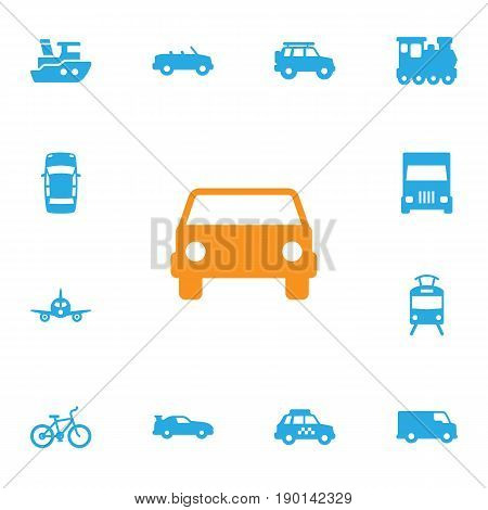Set Of 13 Shipping Icons Set.Collection Of Wagon, Caravan, Taxicab And Other Elements.