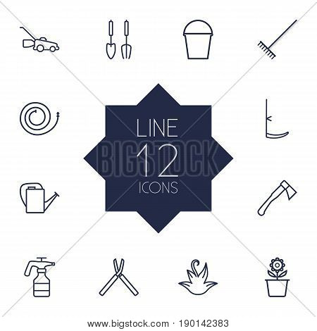 Set Of 12 Farm Outline Icons Set.Collection Of Plant Pot, Harrow, Hatchet And Other Elements.